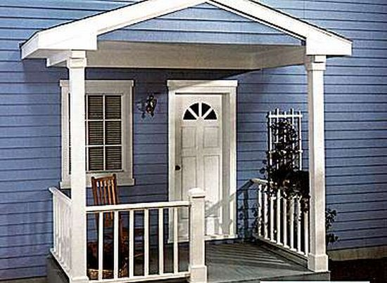 Adding a small covered front porch porch using weather for Small house deck designs