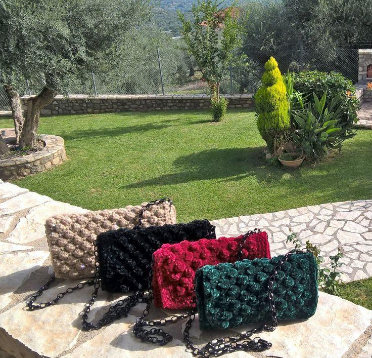 Handbag, Crochet bag, Knitting patterns, Knitting clutch, Lunch bag, Knitting patterns for women, Women's gift, Velvet yarn Velvet bag, Tote by FeMiGR on Etsy