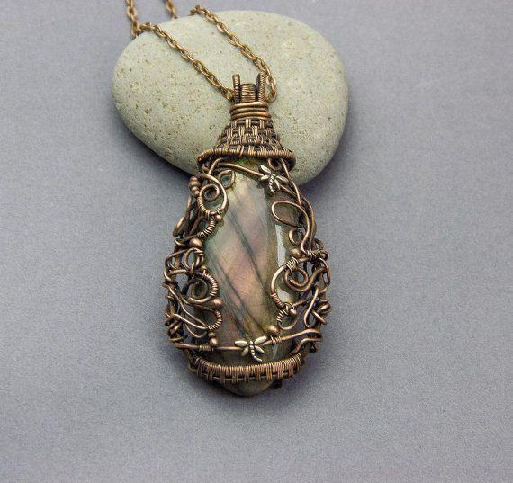 Labradorite Pendant Wire Necklace Wire Wrapped от JewelryFloren