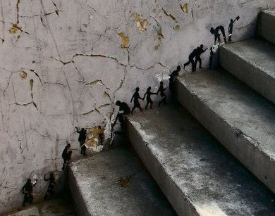 Little people climbing big stairs. i love this so very much. Gotta do this somewhere- Love the whimsy.