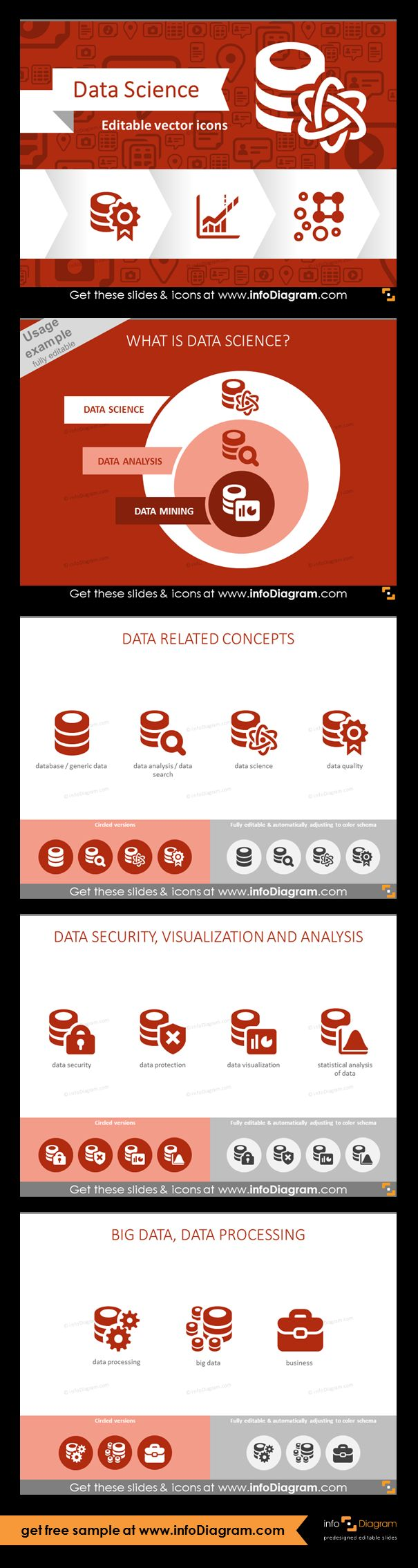 Data Science graphics. Data related concepts: database, data analysis, data search, data science, data quality. Icons of data security, data protection, data visualization and statistical analysis of data. Big Data and data processing. Usage example: What is data Science? Schema with Data Science, Data Analysis and Data Mining icons.