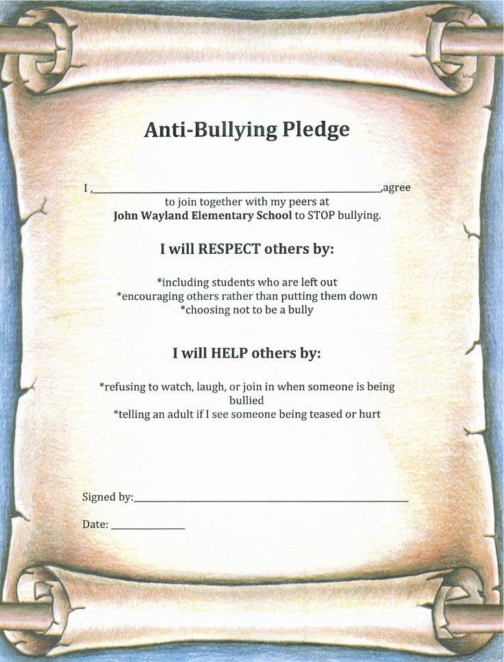 Anti-Bullying Pledge-- students will sign