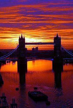 Sunrise over Tower Bridge London England