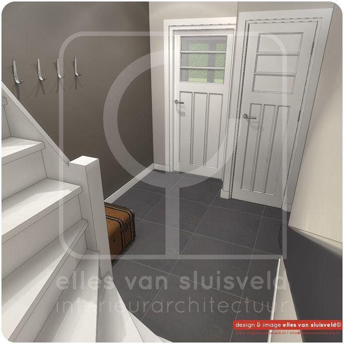Hal met verplaatste trap en nieuwe meterkast ontwerp for Buitenste trap ontwerp