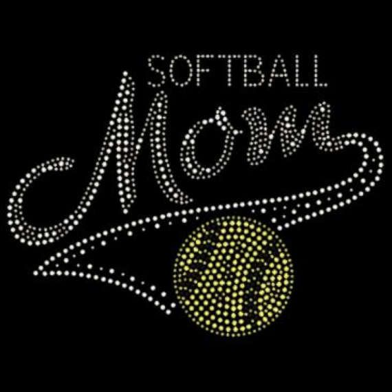 Softball MOM & Ball Rhinestone Motif Design by BlingnPrintStreet