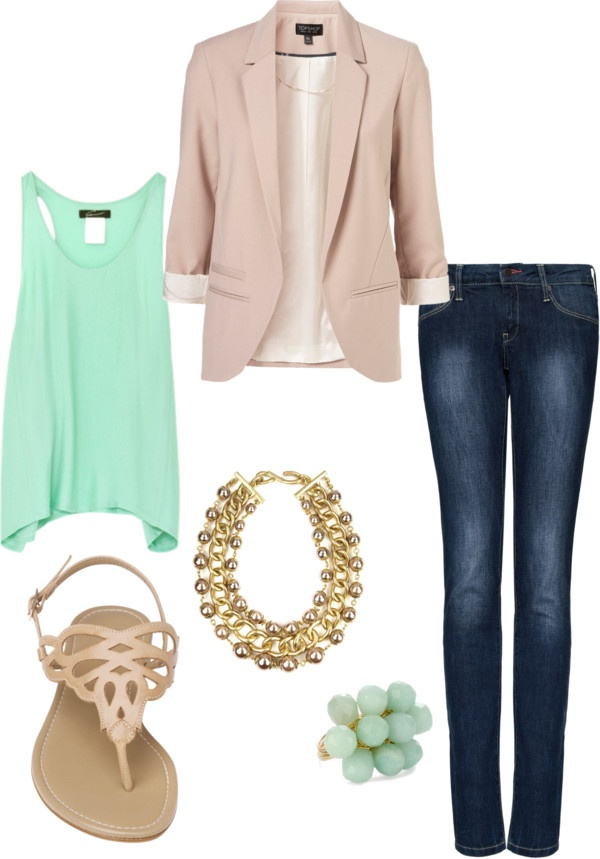 Love this!: Light Pink Blazers, Mint Green, Casual Friday, Color Combos, Styles, Workoutfit, Blazers Jeans, Currently, Work Outfit