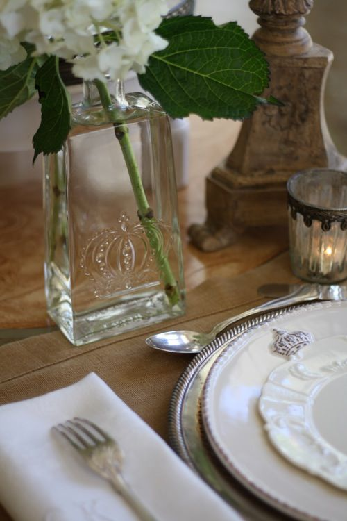 Pretty place setting for dinner -- the crown motif is repeated on several pieces on the table