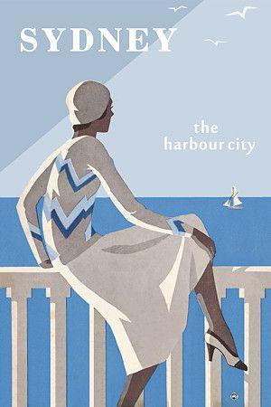 Sydney 'The Harbour City' - Australia by Vintage Venus Editions, vintage travel poster.