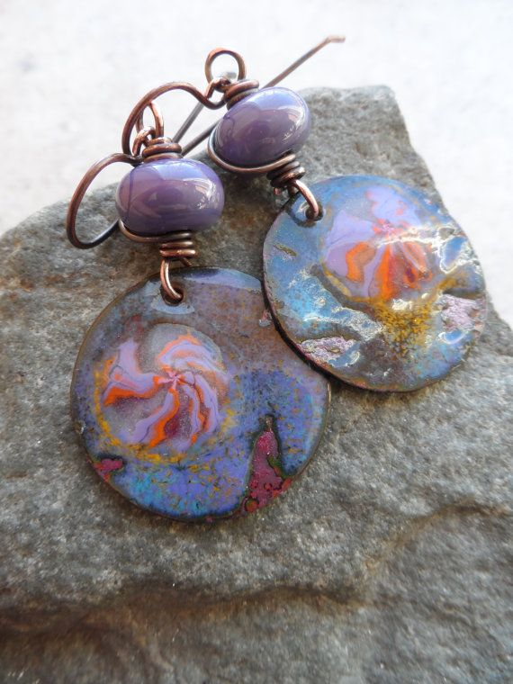 Ominous ... Lampwork and Enameled Copper Wire-Wrapped Rustic, Boho Earrings