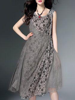 Vintage Floral Sleeveless Midi Dress