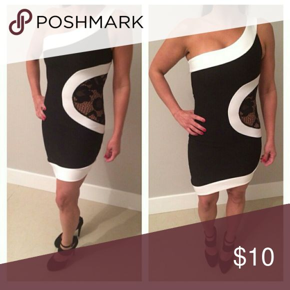 Black and White Mini Dress Black and white one shoulder mini dress with side lace detail. Brand new. Boutique close out Lix Dresses Mini