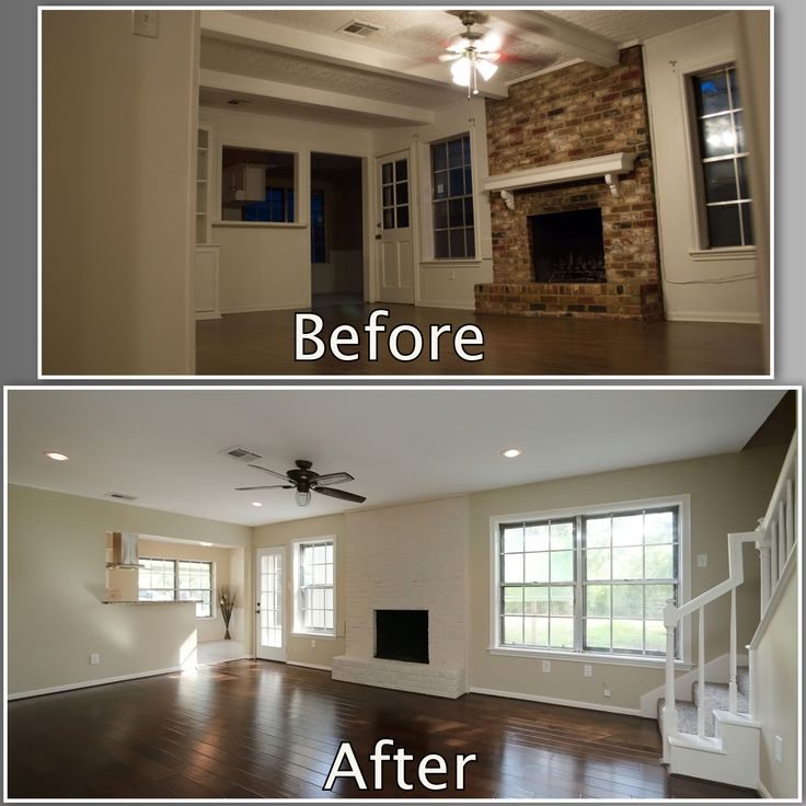 Beams in the den made 8' ceilings feel tiny. We got rid of them, put in recessed lights, and installed a fan w/o lights to open the room up even more. That old faux-wood-tile was also replaced with dark hand-scraped wood floors.