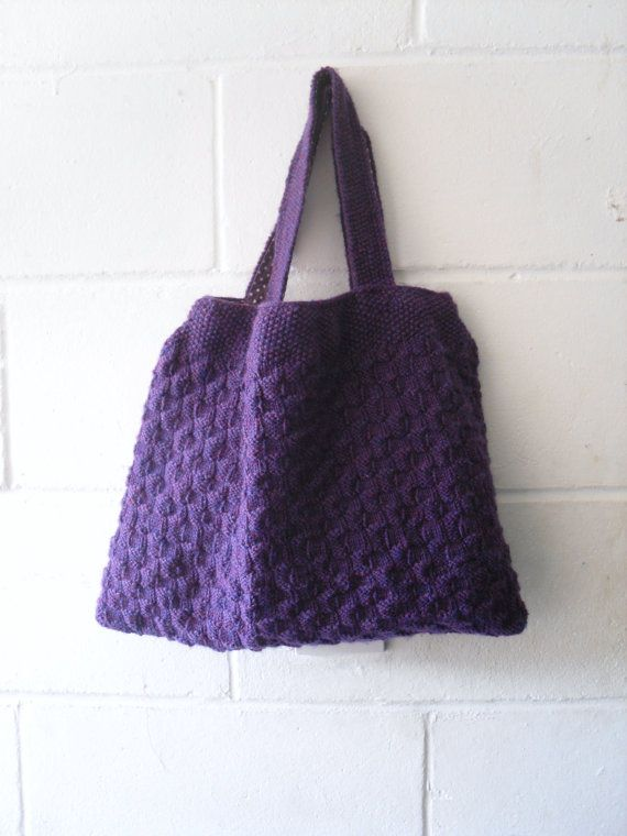 Purple Knitted Handbag. Hand Knitted Purple Tote Bag. by Kezylou