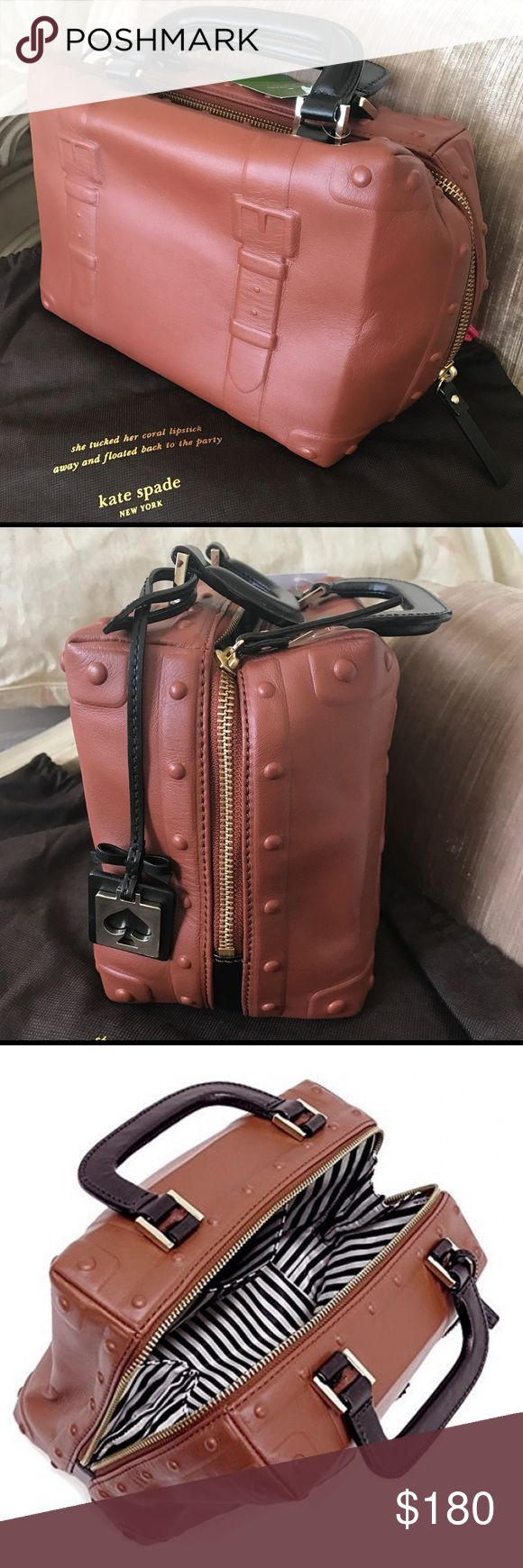 """NWT Kate Spade ♠️ Leather Tiny Trunk Handbag NWT Kate Spade ♠️ Leather Tiny Trunk:  ROAD TRIP DARKROAST WKRU2466 Collectible Design Top Zipper Guaranteed Authentic Sold out in stores Measures 9.25"""" x 7.25"""" x 5"""" Soft body Kate Spade Bags"""