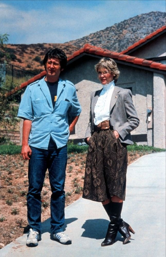 Steven Spielberg and Dee Wallace on the set of E.T. the Extra-Terrestrial (1982)
