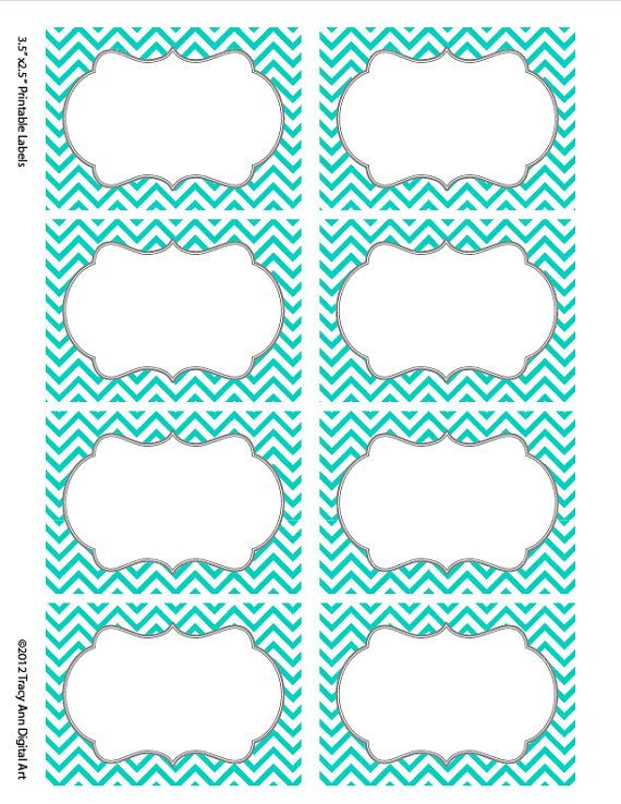 Turquoise Chevron Labels  Print your own by TracyAnnDigitalArt, $5.00