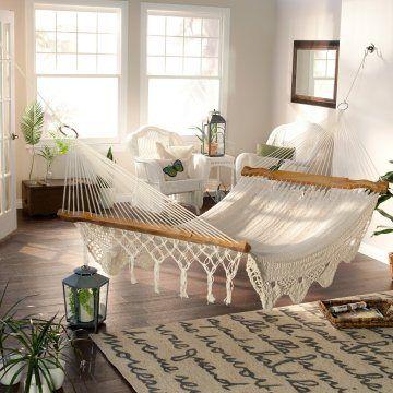 macrame hammock Hayneedle.com The DIY Homegirl Coastal Bohemian Bedroom Mood Board