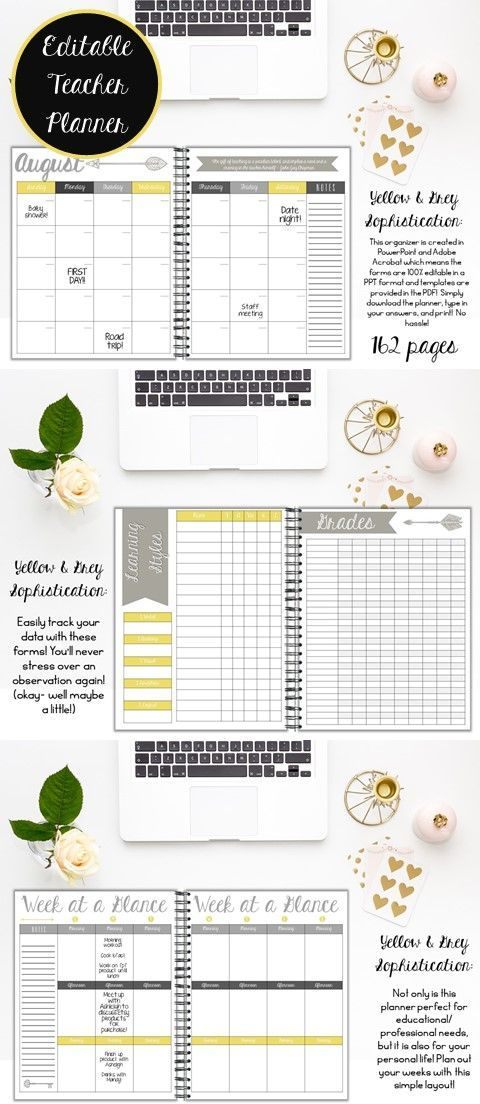 Editable teacher planner for upper grades   162 pages   PDF & PowerPoint Options