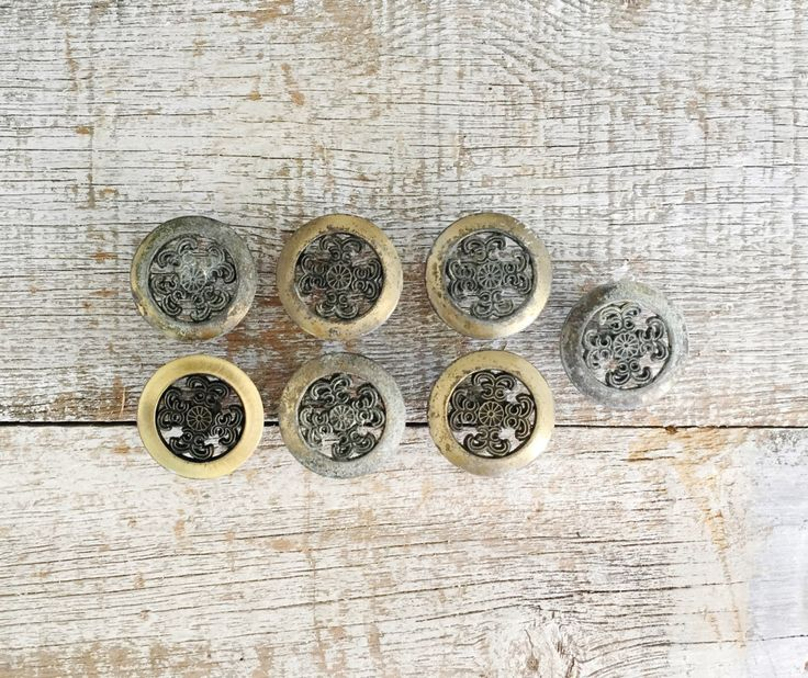 Drawer Knob 7 Drawer Pulls Brass Knobs Mid Century Drawer Pulls Salvaged Hardware  Cabinet Knobs Vintage