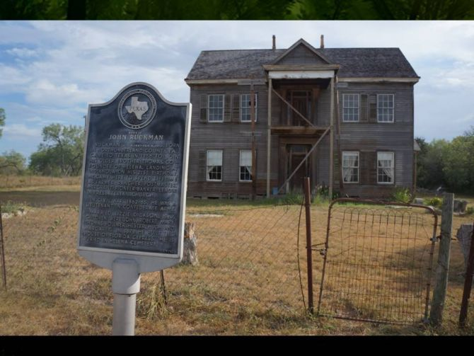"""John Ruckman home in Helena, Texas. Once a bustling county seat, known as the """"toughest town on earth"""" in the mid-19th century, Helena was bypassed by the railroad in 1886. The county seat was soon moved to Karnes City, and Helena was abandoned. It is now a ghost town. The Ruckman home, town post office, courthouse, and jail are now museums."""