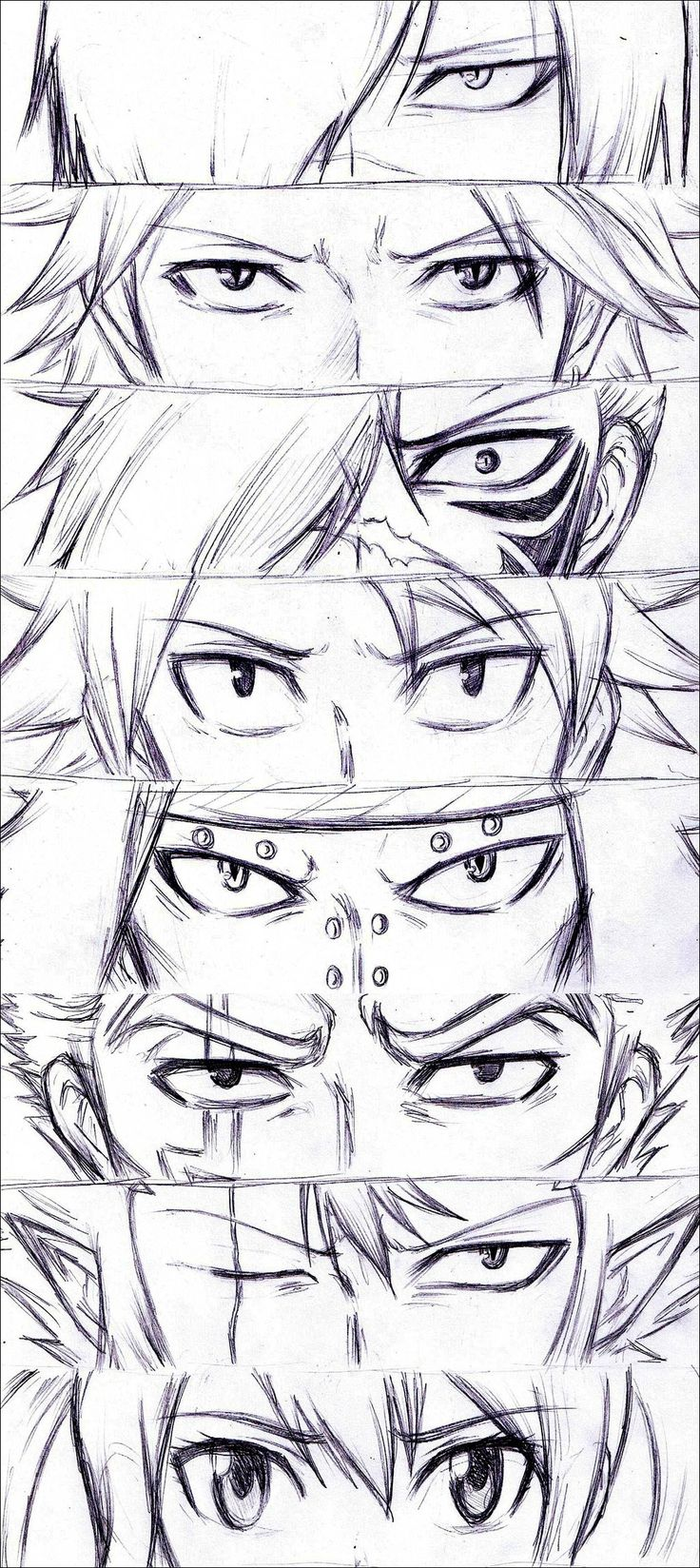 Fairy Tail - Rogue, Sting, Natsu, Gajeel, Laxus, Cobra and Wendy - Eyes dragon slayers