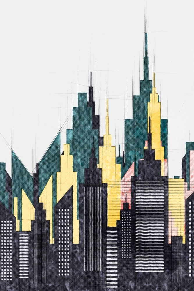 Colorful City Buildings And Skyscrapers Sketch New York Skyline Wall Art Poster Decor New York Art Print By Art New York Drawing New York Art City Buildings