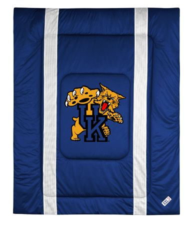 Kentucky Wildcats Sidelines Comforter, starting at  $79.95 at MySportsDecor.com. Great for your bedroom, a kid's bedroom, or a dorm room. http://www.mysportsdecor.com/kentucky-wildcats-sidelines-comforter.html... #kentuckywildcats #kentuckywildcatsbedding #kentuckywildcatscomforter