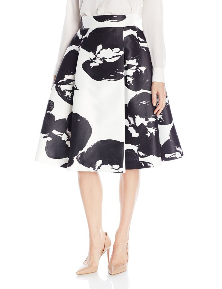 HALSTON HERITAGE Women's High-Waist Printed Structured Skirt, Eggshell/Black Abstract Orchid, 4. A-line midi skirt featuring wide waistband and oversized floral print. Fully lined.