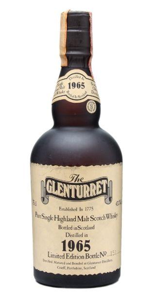 Limited bottling of Glenturret Pure Single Highland Malt Scotch whisky distilled in 1965 and released in 80s.