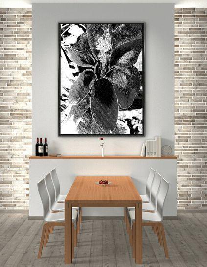 Christmas Cactus BW print by Rheta-Mari Kotze in dining room interior