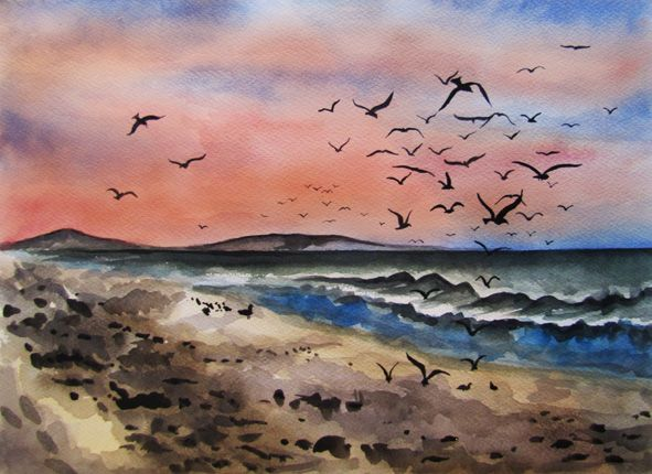 Cape Town at Dusk - Watercolour painting by Julie Sneeden