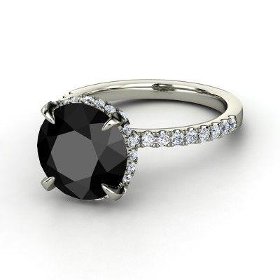 Round Black Diamond Platinum Ring with Diamond - Carrie Ring   Gemvara
