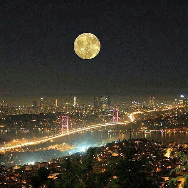 Full Moon over Istanbul, Turkey.