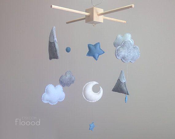 Nuages bébé pépinière Mobile moderne décor Unique Baby par Floood