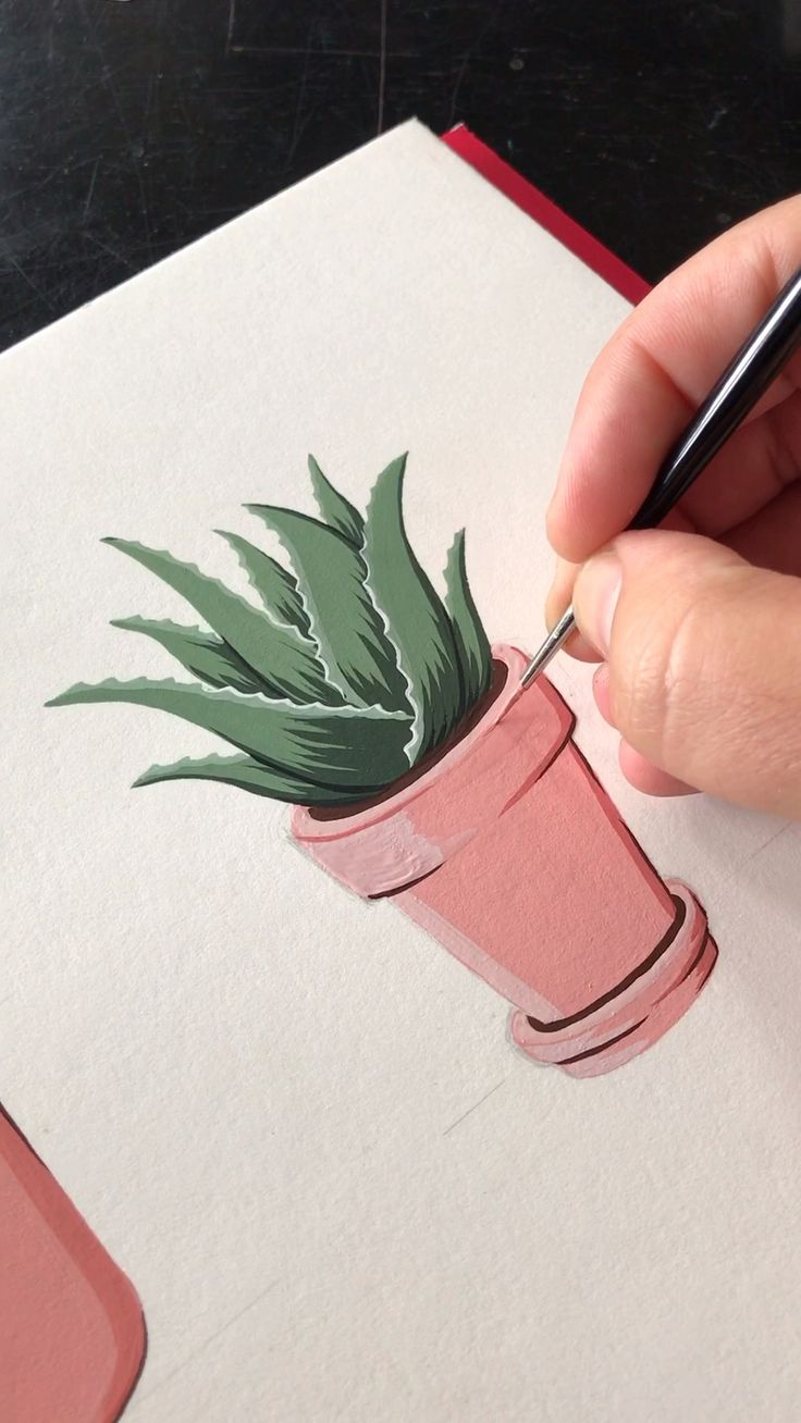 How enjoyable is Gouache?! Lil Potted Aloe Vera By Philip Boelter