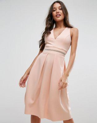 ASOS Scuba Open Back Debutante Dress With Ladder Trim