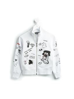 graffiti print jersey jacket