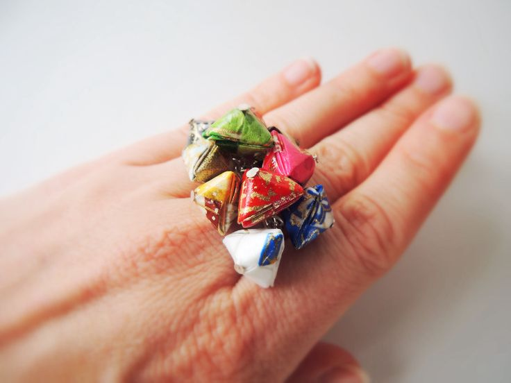 'A Jewel to Behold' cluster ring in rainbow shades. Made from washi paper in 10 colours. Definitely a unique stand out piece!