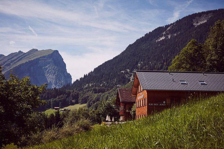 Hotel am Holand in Au. Aussicht auf die schönen Berge im Bregenzerwald