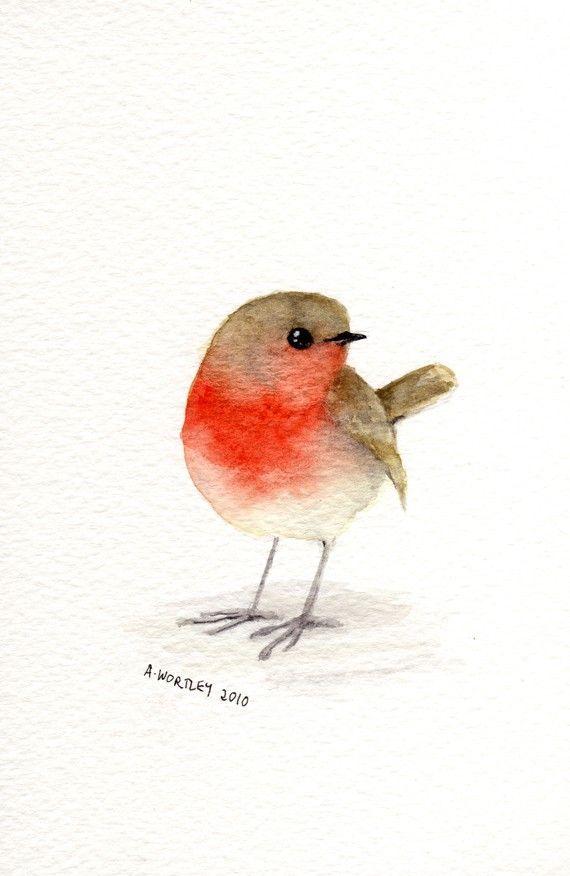 Little Red Robin Original Watercolour By Wildsunart Etsy on Bird Ankle Tattoo By Green Faerie Devia Little Red Robin Original Watercolour By Wildsunar…