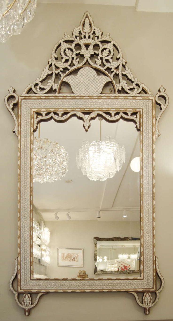 Elegant Moroccan Mother of Pearl & Bone Inlay Mirror image 2