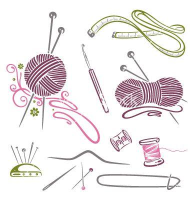 Needlework knitting wool crochet vector 1509822 - by christine-krahl on VectorStock®