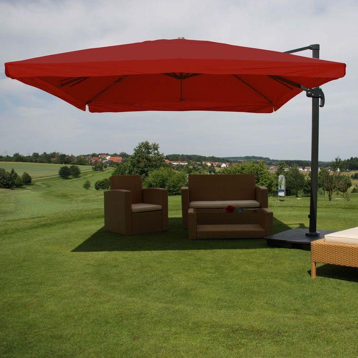 Gastronomie-Luxus-Ampelschirm Sonnenschirm N22, Alu 4,3 m ~ Flap, bordeaux mit Ständer