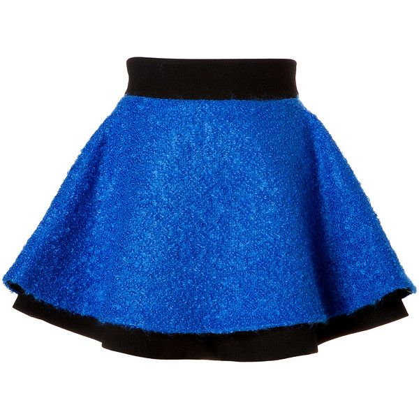 Fausto Puglisi Mohair Blend Boucle Flared Skirt ($525) ❤ liked on Polyvore featuring skirts, mini skirts, bottoms, saia, blue, blue skirt, blue skater skirt, fausto puglisi, flared skirt and blue circle skirt