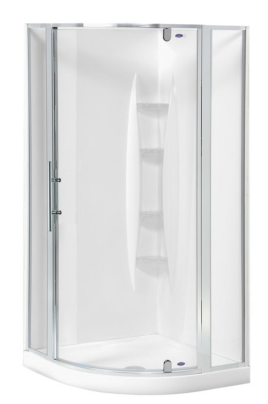 Englefield Valencia Rondo Shower 	 Englefield Valencia Rondo Shower Round front shower, white or chrome frame option, different sizing options, includes tray and liner. http://www.plumbin.co.nz/shop/showers/valencia_rondo.html