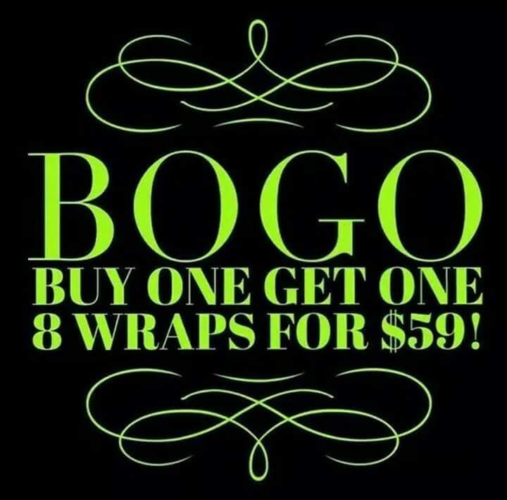 Are you as excited as I am about BOGO wraps?!?! Hurry and get tour order on with me now only 2 days left!!