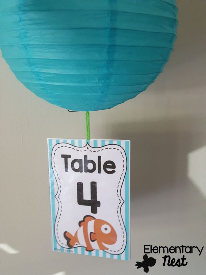Table signs- shown in ocean theme. Label your tables into teams or tables so that you can easily sort your classroom- Also available in 13 other classroom themes.