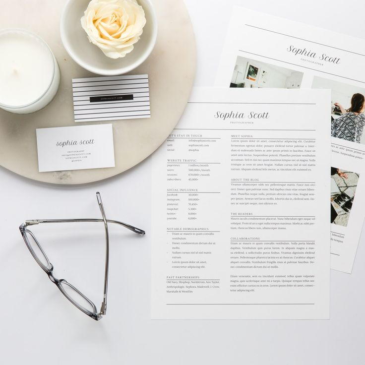 Sophia Scott Media Kit Template in Adobe Indesign, Microsoft Word, and Apple Pages