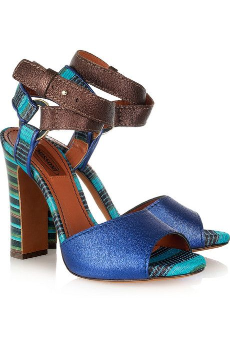Missoni Metallic leather and crochet-knit sandals