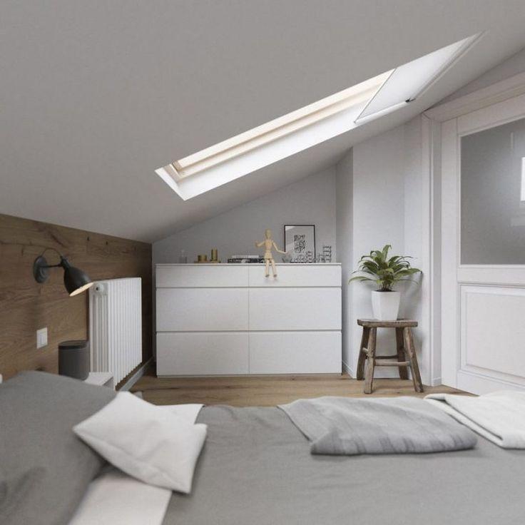 62m2-es lakás tetőtéri hálószobával - friss, világos berendezés, dekorbeton, fa, tégla